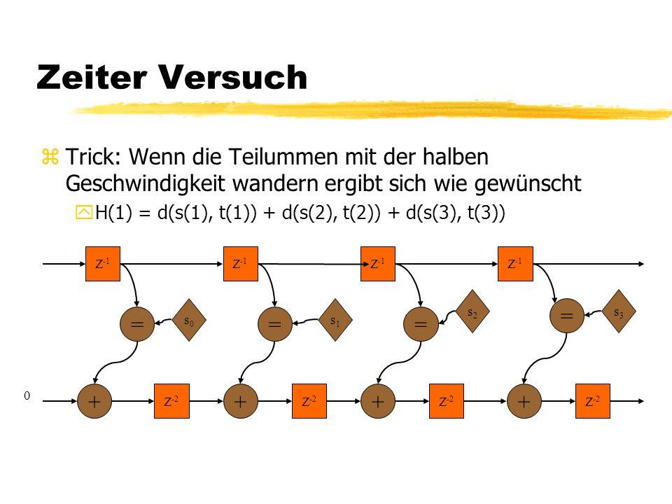 Zeiter Versuch zTrick: Wenn die Teilummen mit der halben Geschwindigkeit wandern ergibt sich wie gewünscht yH(1) = d(s(1), t(1)) + d(s(2), t(2)) + d(s