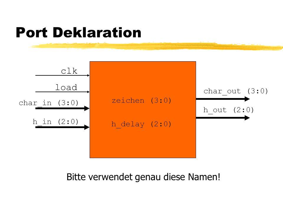 Port Deklaration clk load char_in (3:0) h_in (2:0) char_out (3:0) h_out (2:0) h_delay (2:0) Bitte verwendet genau diese Namen.