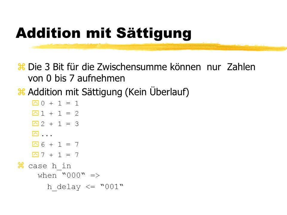 Addition mit Sättigung zDie 3 Bit für die Zwischensumme können nur Zahlen von 0 bis 7 aufnehmen zAddition mit Sättigung (Kein Überlauf) y0 + 1 = 1 y1
