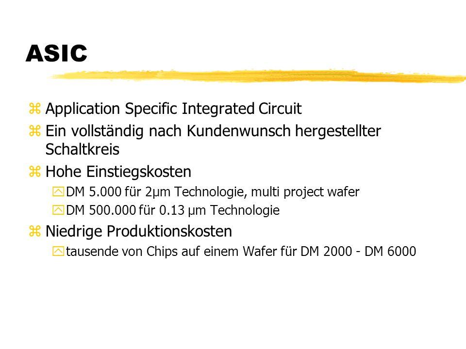 ASIC zApplication Specific Integrated Circuit zEin vollständig nach Kundenwunsch hergestellter Schaltkreis zHohe Einstiegskosten yDM 5.000 für 2µm Technologie, multi project wafer yDM 500.000 für 0.13 µm Technologie zNiedrige Produktionskosten ytausende von Chips auf einem Wafer für DM 2000 - DM 6000