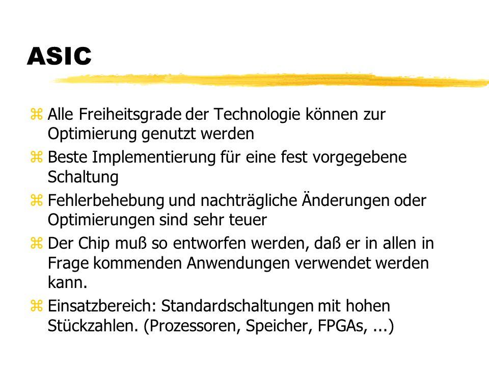 ASIC zAlle Freiheitsgrade der Technologie können zur Optimierung genutzt werden zBeste Implementierung für eine fest vorgegebene Schaltung zFehlerbehebung und nachträgliche Änderungen oder Optimierungen sind sehr teuer zDer Chip muß so entworfen werden, daß er in allen in Frage kommenden Anwendungen verwendet werden kann.