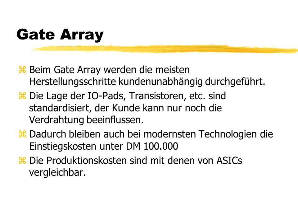 Gate Array zBeim Gate Array werden die meisten Herstellungsschritte kundenunabhängig durchgeführt. zDie Lage der IO-Pads, Transistoren, etc. sind stan