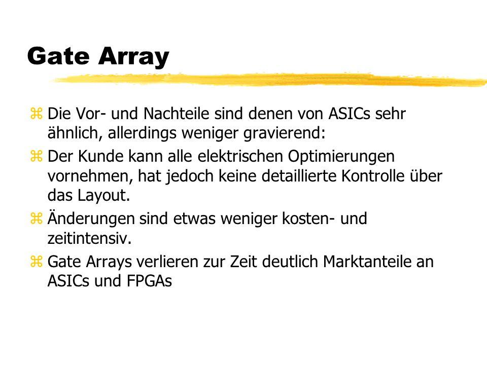 Gate Array zDie Vor- und Nachteile sind denen von ASICs sehr ähnlich, allerdings weniger gravierend: zDer Kunde kann alle elektrischen Optimierungen vornehmen, hat jedoch keine detaillierte Kontrolle über das Layout.