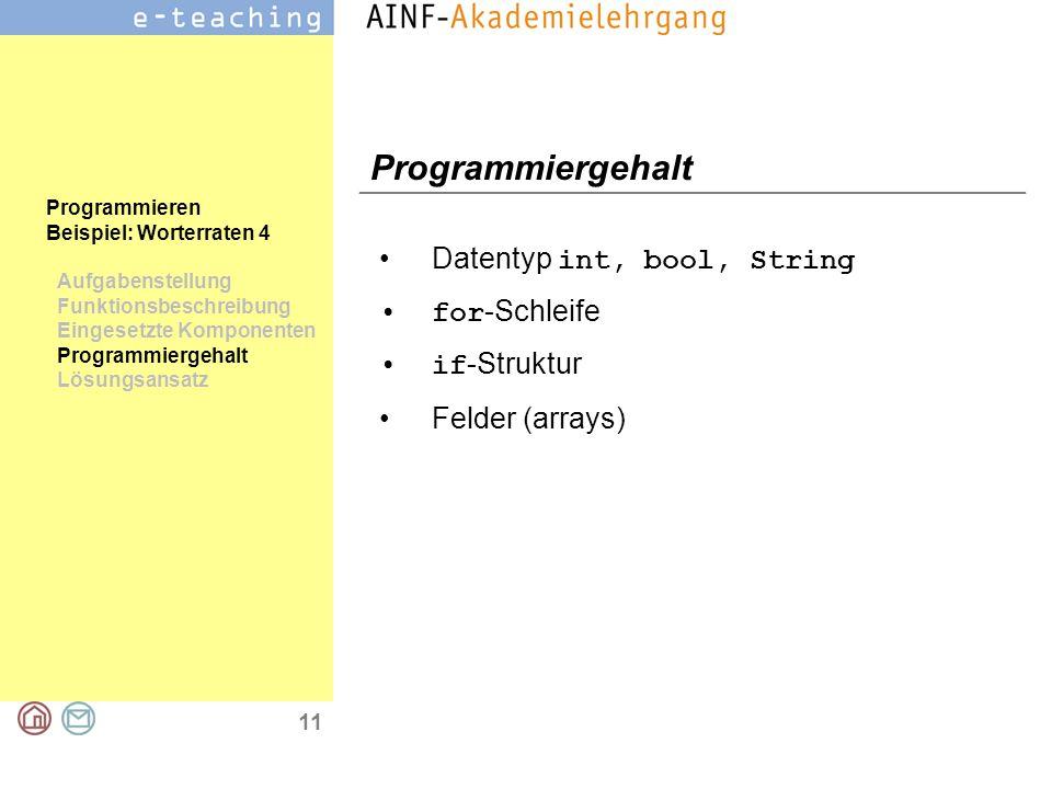 11 Programmieren Beispiel: Worterraten 4 Aufgabenstellung Funktionsbeschreibung Eingesetzte Komponenten Programmiergehalt Lösungsansatz Programmiergeh