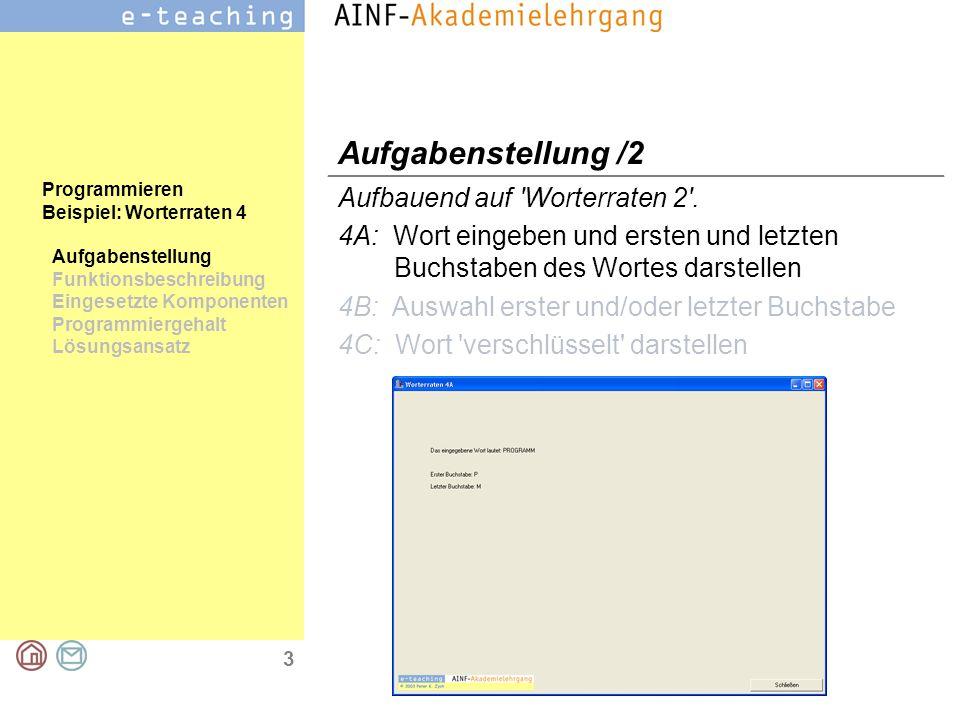 3 Programmieren Beispiel: Worterraten 4 Aufgabenstellung Funktionsbeschreibung Eingesetzte Komponenten Programmiergehalt Lösungsansatz Aufgabenstellun