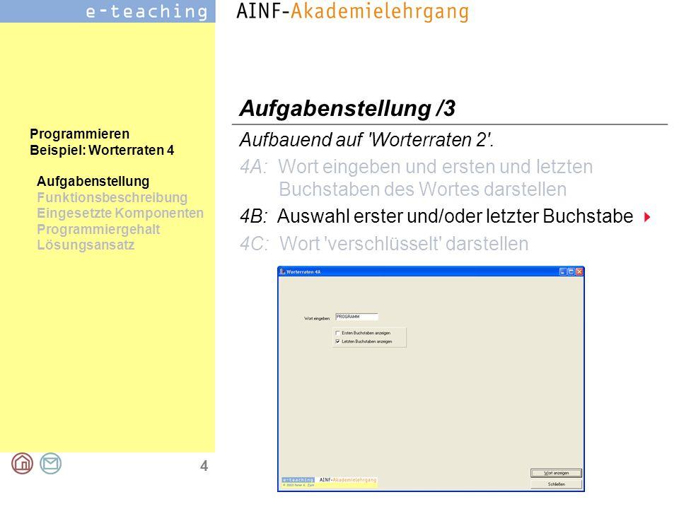 4 Programmieren Beispiel: Worterraten 4 Aufgabenstellung Funktionsbeschreibung Eingesetzte Komponenten Programmiergehalt Lösungsansatz Aufgabenstellun