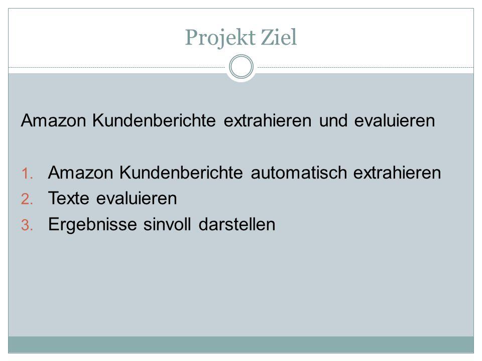 Projekt Ziel Amazon Kundenberichte extrahieren und evaluieren 1. Amazon Kundenberichte automatisch extrahieren 2. Texte evaluieren 3. Ergebnisse sinvo