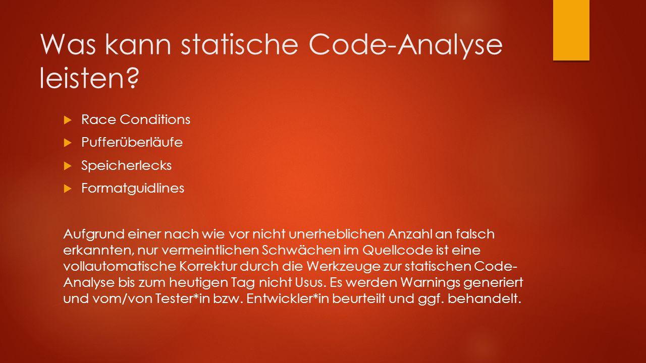 Was kann statische Code-Analyse leisten.