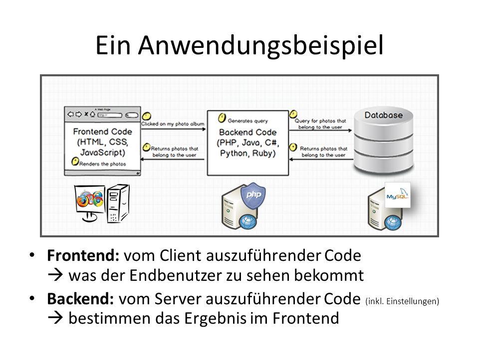 Ein Anwendungsbeispiel Frontend: vom Client auszuführender Code  was der Endbenutzer zu sehen bekommt Backend: vom Server auszuführender Code (inkl.