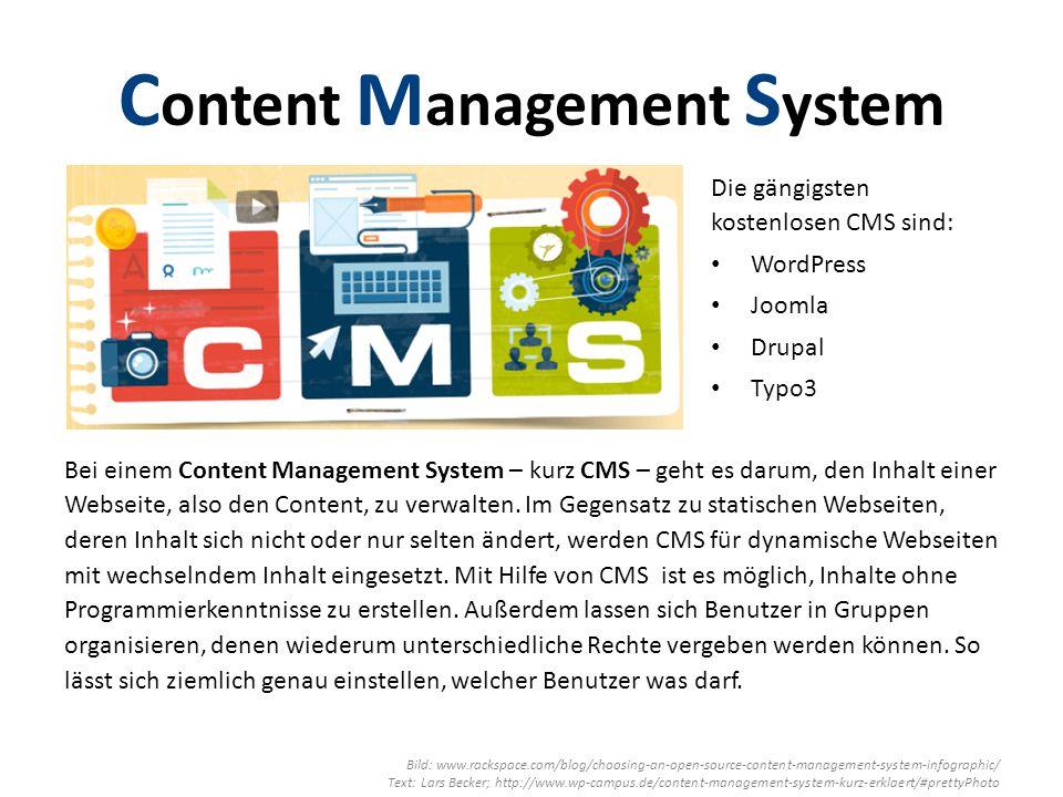 Bei einem Content Management System – kurz CMS – geht es darum, den Inhalt einer Webseite, also den Content, zu verwalten.