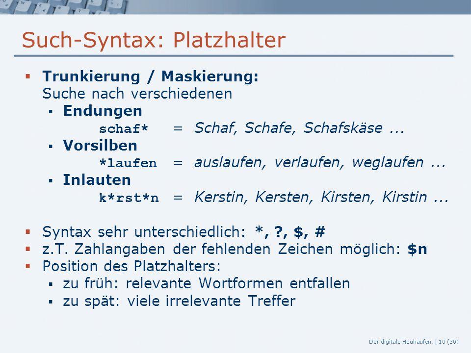 Der digitale Heuhaufen. | 10 (30) Such-Syntax: Platzhalter  Trunkierung / Maskierung: Suche nach verschiedenen  Endungen schaf* = Schaf, Schafe, Sch