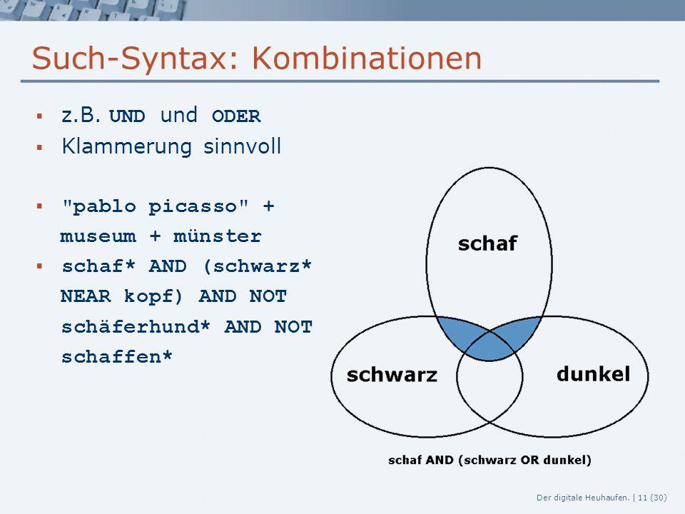 Der digitale Heuhaufen. | 11 (30) Such-Syntax: Kombinationen  z.B. UND und ODER  Klammerung sinnvoll 