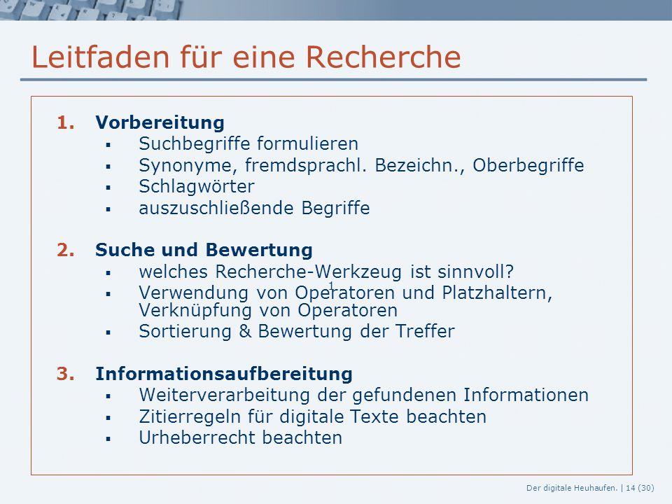 Der digitale Heuhaufen. | 14 (30) Leitfaden für eine Recherche 1.Vorbereitung  Suchbegriffe formulieren  Synonyme, fremdsprachl. Bezeichn., Oberbegr