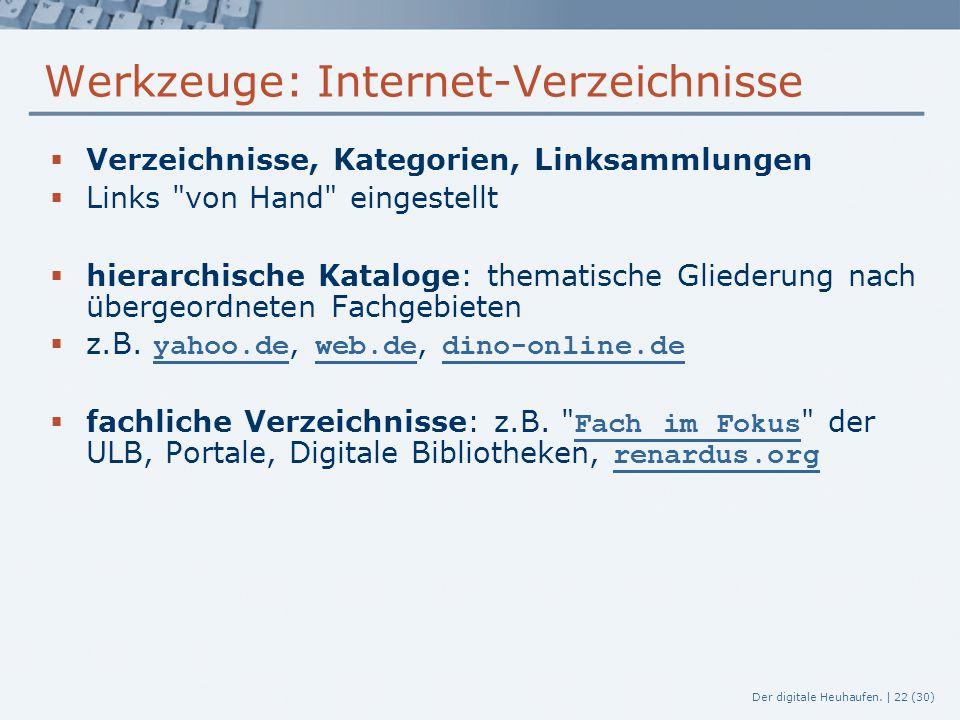 Der digitale Heuhaufen. | 22 (30) Werkzeuge: Internet-Verzeichnisse  Verzeichnisse, Kategorien, Linksammlungen  Links
