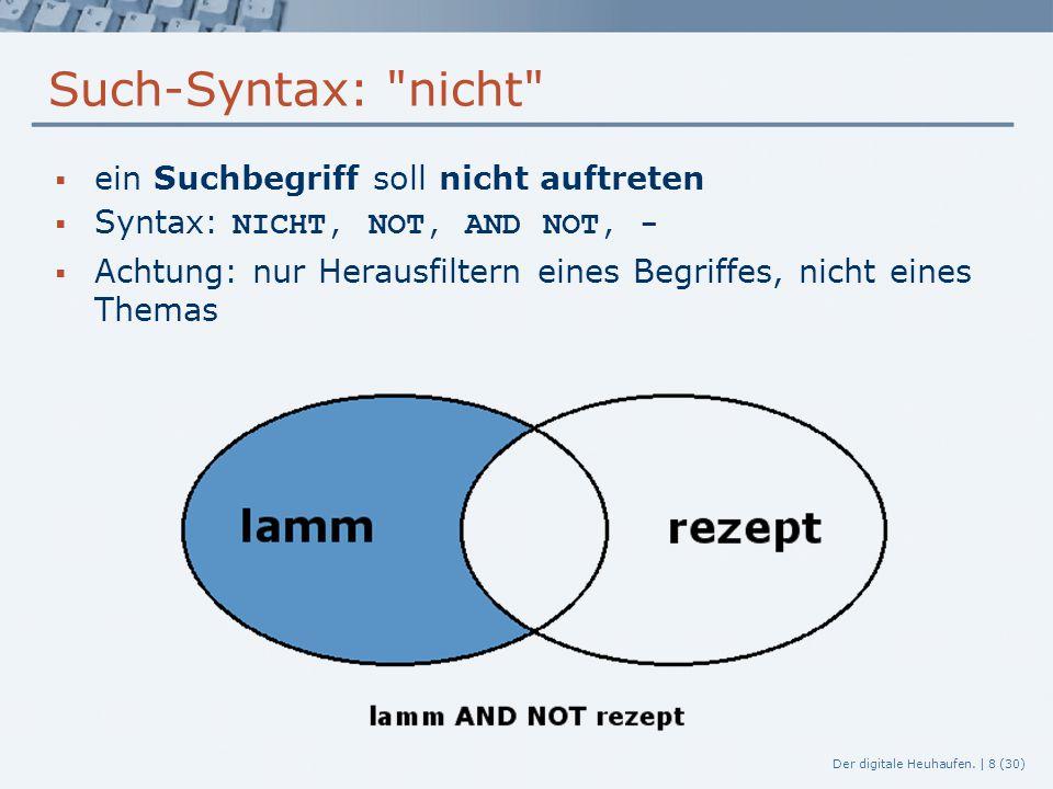Der digitale Heuhaufen. | 8 (30) Such-Syntax: