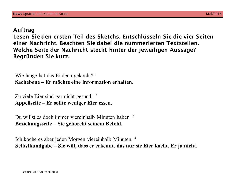 © Fuchs-Reihe, Orell Füssli Verlag News Sprache und Kommunikation Mai/2014 Auftrag Versetzen Sie sich in die Rolle der Frau.