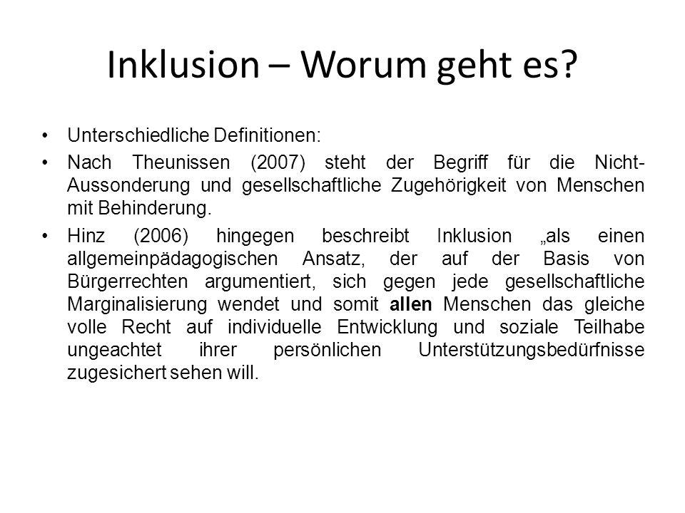 Inklusion – Worum geht es? Unterschiedliche Definitionen: Nach Theunissen (2007) steht der Begriff für die Nicht- Aussonderung und gesellschaftliche Z