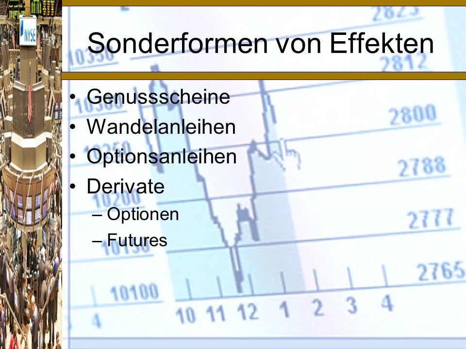 Sonderformen von Effekten Genussscheine Wandelanleihen Optionsanleihen Derivate –Optionen –Futures