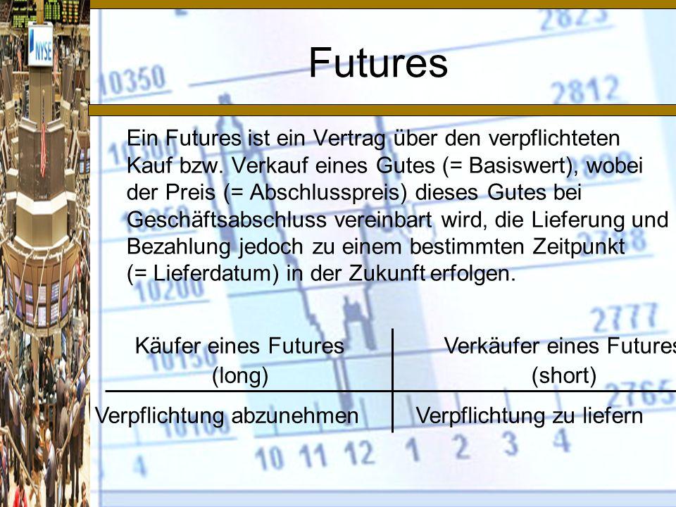 Käufer eines Futures (long) Verkäufer eines Futures (short) Verpflichtung abzunehmenVerpflichtung zu liefern Futures Ein Futures ist ein Vertrag über den verpflichteten Kauf bzw.