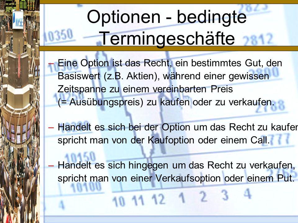 Optionen - bedingte Termingeschäfte –Eine Option ist das Recht, ein bestimmtes Gut, den Basiswert (z.B.