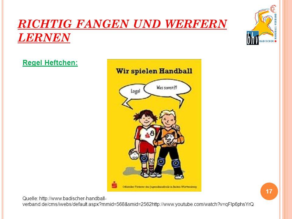 RICHTIG FANGEN UND WERFERN LERNEN 17 Regel Heftchen: Quelle: http://www.badischer-handball- verband.de/cms/iwebs/default.aspx?mmid=568&smid=2562http:/