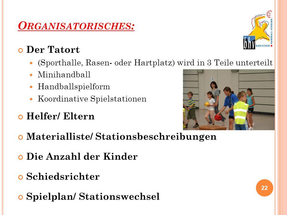 O RGANISATORISCHES : Der Tatort (Sporthalle, Rasen- oder Hartplatz) wird in 3 Teile unterteilt Minihandball Handballspielform Koordinative Spielstatio