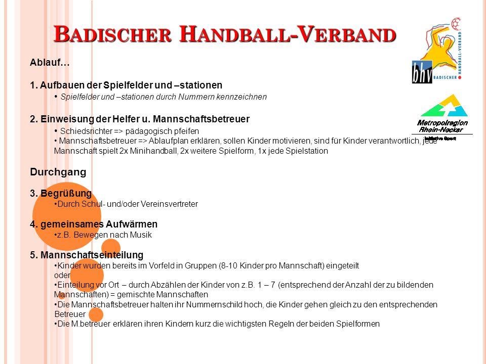 B ADISCHER H ANDBALL -V ERBAND Ablauf… 1. Aufbauen der Spielfelder und –stationen Spielfelder und –stationen durch Nummern kennzeichnen 2. Einweisung