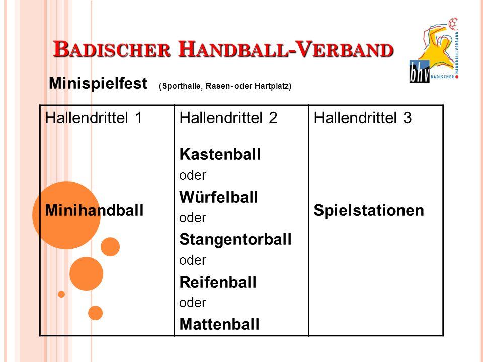 B ADISCHER H ANDBALL -V ERBAND Hallendrittel 1 Minihandball Hallendrittel 2 Kastenball oder Würfelball oder Stangentorball oder Reifenball oder Matten