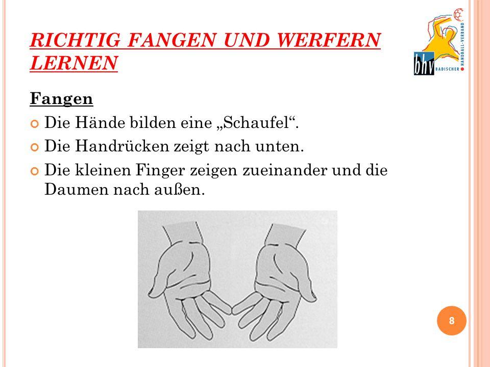 """RICHTIG FANGEN UND WERFERN LERNEN Fangen Die Hände bilden eine """"Schaufel"""". Die Handrücken zeigt nach unten. Die kleinen Finger zeigen zueinander und d"""