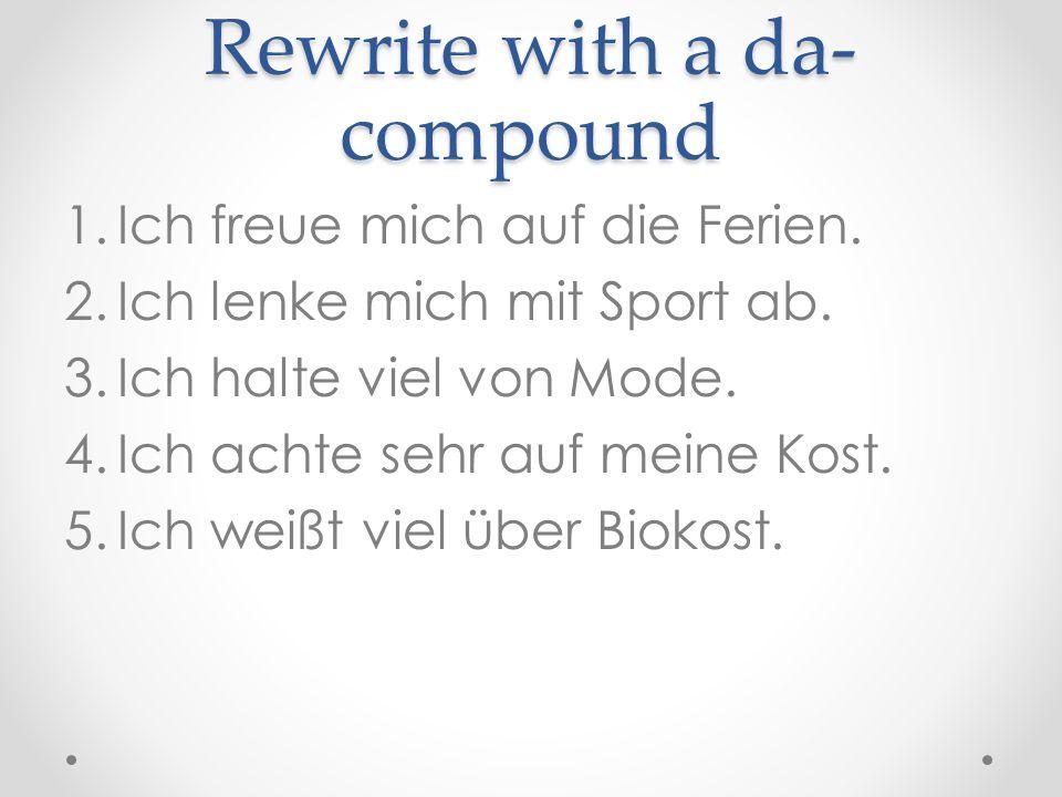 Wo-compounds same rules as da-compounds but now a question Ich mache mir Gedanken auf meine Gesundheit.