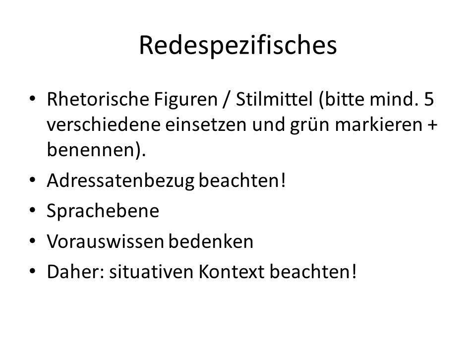 Redespezifisches Rhetorische Figuren / Stilmittel (bitte mind.