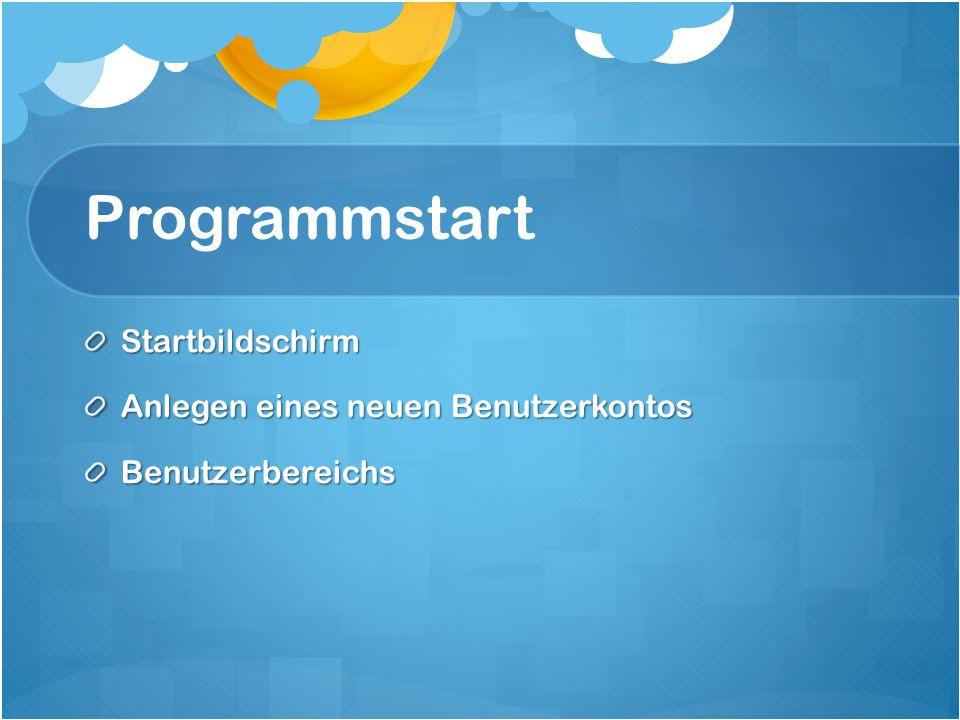 Programmstart Startbildschirm Anlegen eines neuen Benutzerkontos Benutzerbereichs