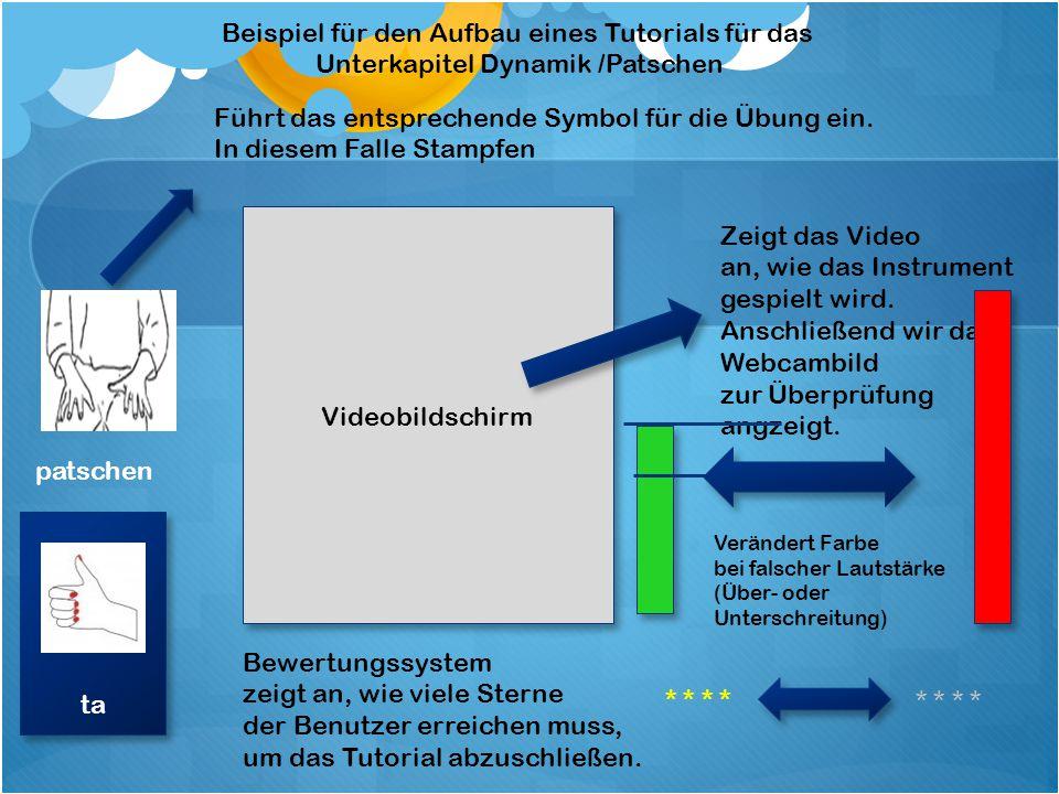 Bildschirm Beispiel für den Aufbau eines Tutorials für das Modul 2 stampfen Sprich mit und benutze das richtige Instrument.