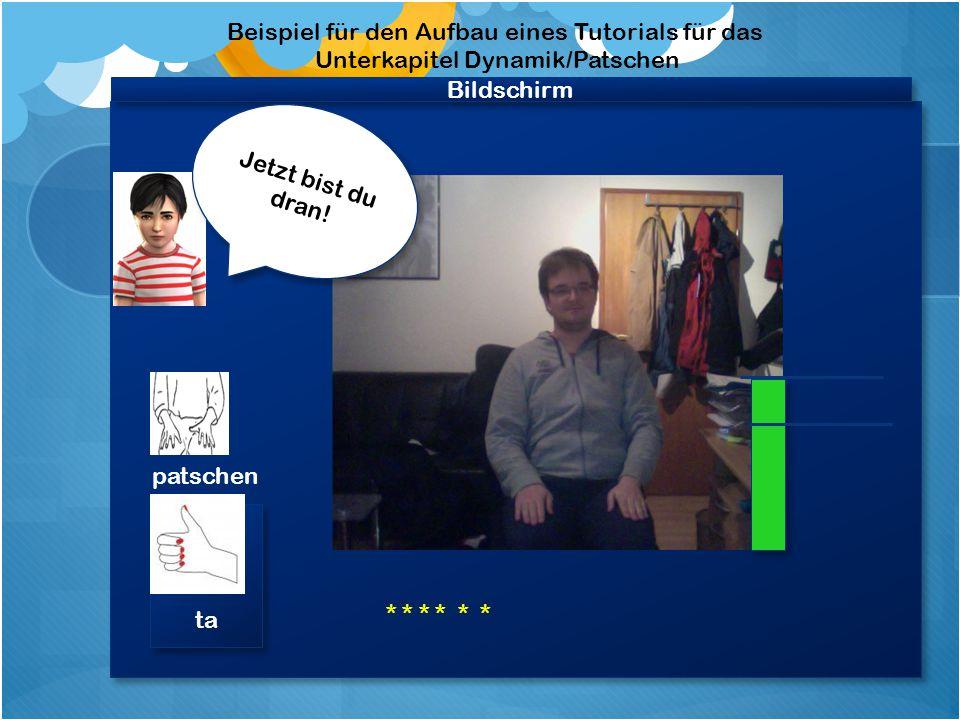 """Bildschirm Beispiel für den Aufbau eines Tutorials für das Unterkapitel """"Dynamik 1 Video """"Felix patscht, spricht achtet auf die Lautstärke Video """"Felix patscht, spricht achtet auf die Lautstärke Achte darauf, dass sich der Balken nicht rot färbt."""