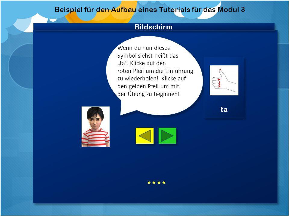 Bildschirm Beispiel für den Aufbau eines Tutorials für das Modul 3 Sprich mit und Benutze das richtige Instrument.