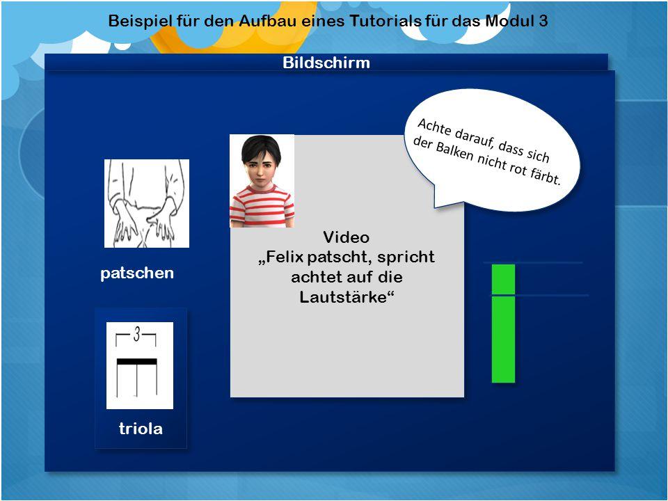 Beispiel für den Aufbau eines Tutorials für das Unterkapitel Dynamik /Patschen Videobildschirm * * Zeigt das Video an, wie das Instrument gespielt wird.