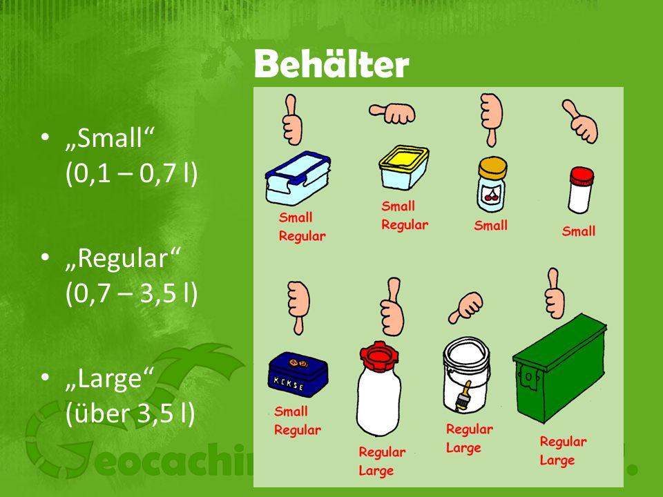 "Behälter ""Small (0,1 – 0,7 l) ""Regular (0,7 – 3,5 l) ""Large (über 3,5 l)"