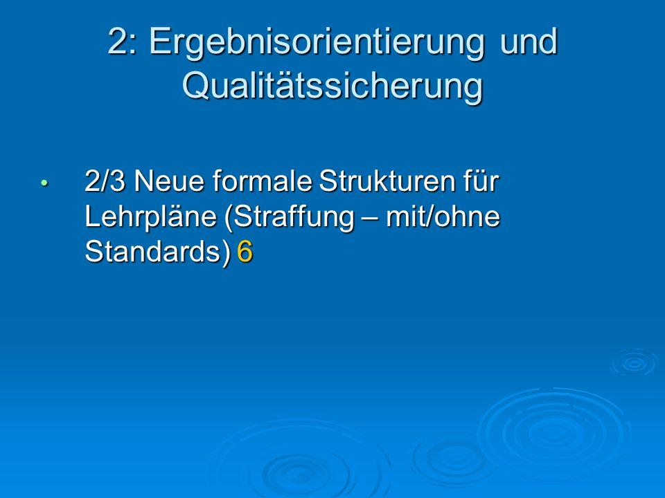 2: Ergebnisorientierung und Qualitätssicherung 2/3 Neue formale Strukturen für Lehrpläne (Straffung – mit/ohne Standards) 6 2/3 Neue formale Strukturen für Lehrpläne (Straffung – mit/ohne Standards) 6