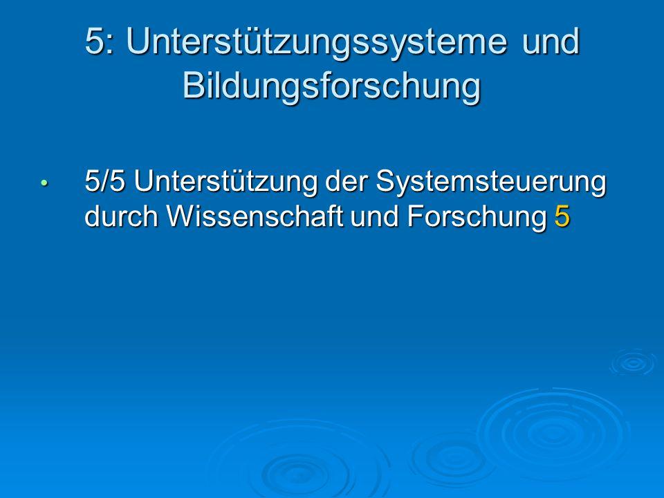 5: Unterstützungssysteme und Bildungsforschung 5/5 Unterstützung der Systemsteuerung durch Wissenschaft und Forschung 5 5/5 Unterstützung der Systemsteuerung durch Wissenschaft und Forschung 5