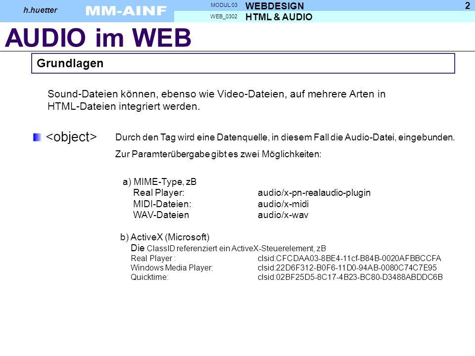 AUDIO im WEB HTML & AUDIO WEB_0302 WEBDESIGN MODUL 03 h.huetter 2 Sound-Dateien können, ebenso wie Video-Dateien, auf mehrere Arten in HTML-Dateien integriert werden.