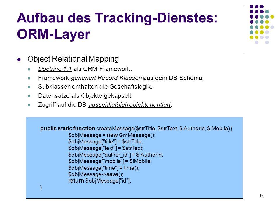 17 Aufbau des Tracking-Dienstes: ORM-Layer Object Relational Mapping Doctrine 1.1 als ORM-Framework. Framework generiert Record-Klassen aus dem DB-Sch