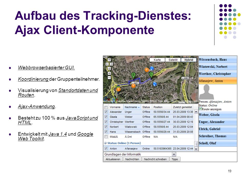 19 Aufbau des Tracking-Dienstes: Ajax Client-Komponente Webbrowserbasierter GUI.