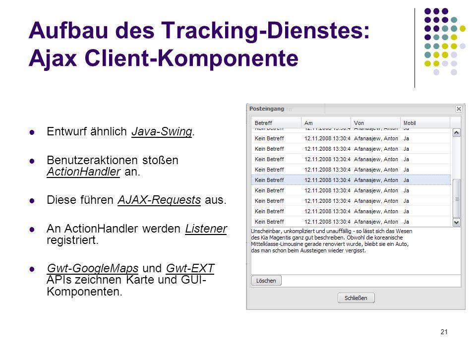 21 Entwurf ähnlich Java-Swing. Benutzeraktionen stoßen ActionHandler an. Diese führen AJAX-Requests aus. An ActionHandler werden Listener registriert.