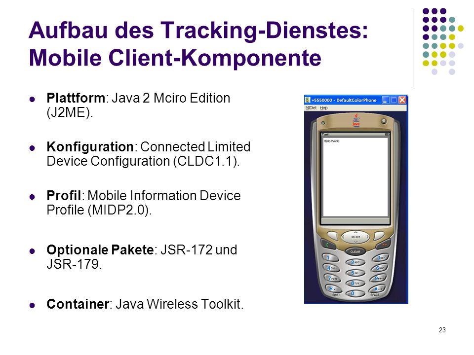 23 Aufbau des Tracking-Dienstes: Mobile Client-Komponente Plattform: Java 2 Mciro Edition (J2ME). Konfiguration: Connected Limited Device Configuratio