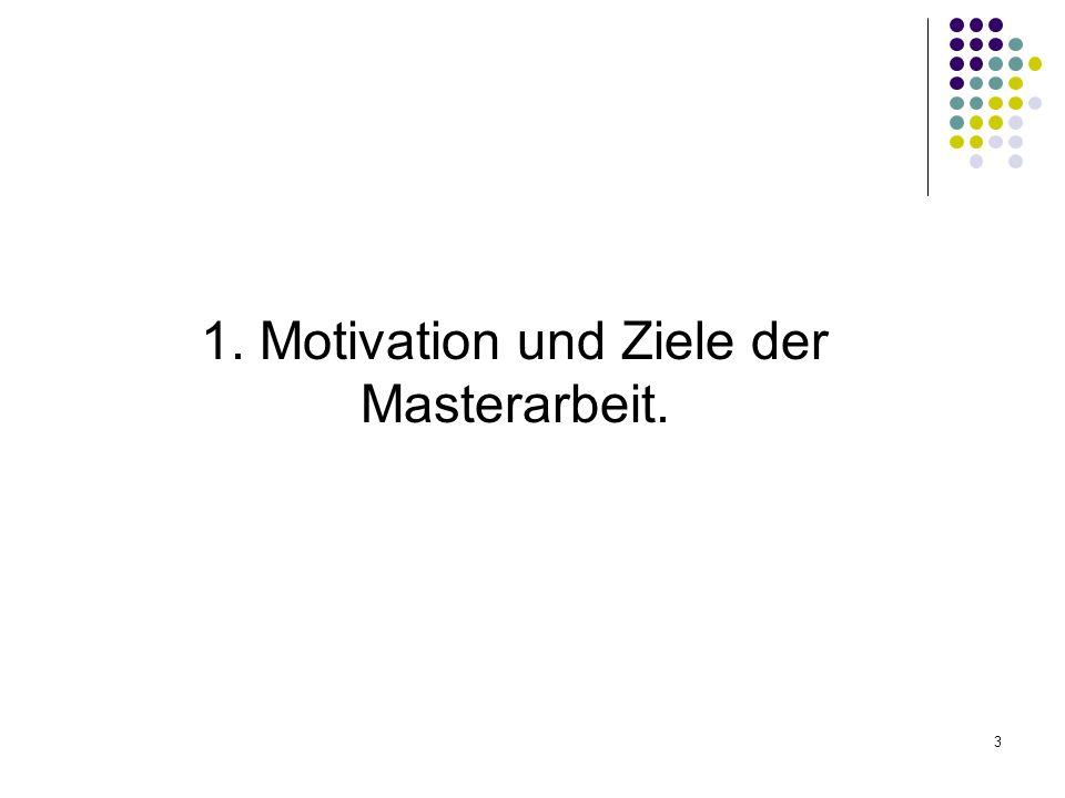 3 1. Motivation und Ziele der Masterarbeit.