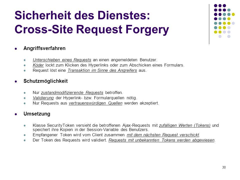 30 Sicherheit des Dienstes: Cross-Site Request Forgery Angriffsverfahren Unterschieben eines Requests an einen angemeldeten Benutzer. Köder lockt zum