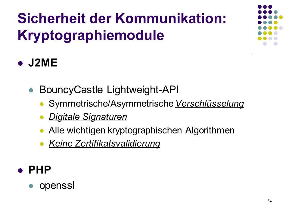 34 Sicherheit der Kommunikation: Kryptographiemodule J2ME BouncyCastle Lightweight-API Symmetrische/Asymmetrische Verschlüsselung Digitale Signaturen Alle wichtigen kryptographischen Algorithmen Keine Zertifikatsvalidierung PHP openssl