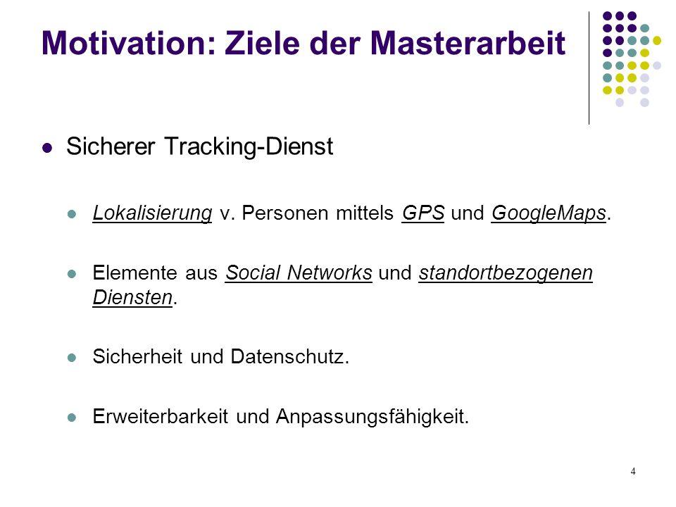 4 Motivation: Ziele der Masterarbeit Sicherer Tracking-Dienst Lokalisierung v. Personen mittels GPS und GoogleMaps. Elemente aus Social Networks und s
