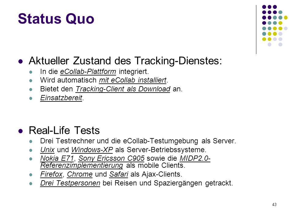 43 Status Quo Aktueller Zustand des Tracking-Dienstes: In die eCollab-Plattform integriert. Wird automatisch mit eCollab installiert. Bietet den Track