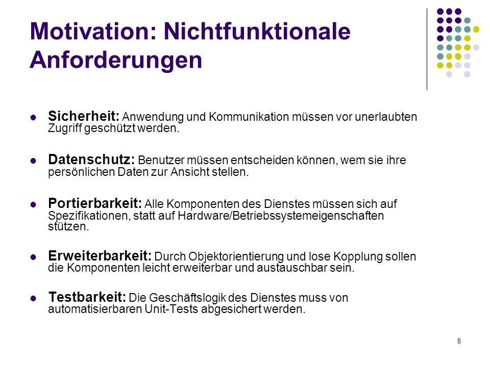 8 Motivation: Nichtfunktionale Anforderungen Sicherheit: Anwendung und Kommunikation müssen vor unerlaubten Zugriff geschützt werden.